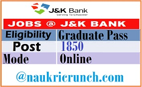 JK Bank Recruitment 2020 Apply for PO and BA