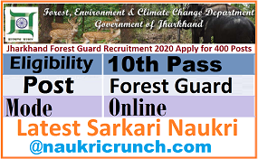 Jharkhand Forest Guard Recruitment 2020 Apply for 400 Posts