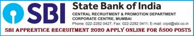 SBI Apprentice Recruitment 2020 Apply Online for 8500 Posts
